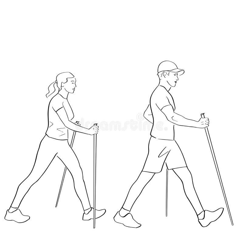 Nordic or scandinavian walking. stock illustration
