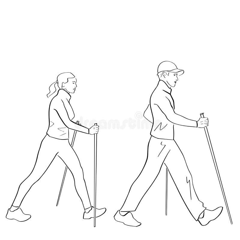 Nordic or scandinavian walking. vector illustration