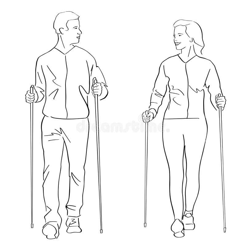 Nordic or scandinavian walking. royalty free illustration