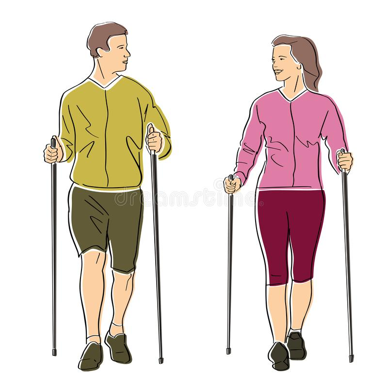 Nordic or scandinavian walking. stock illustration