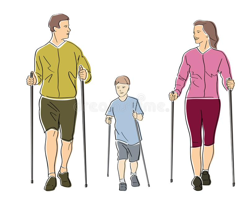 Nordic or scandinavian walking. vector illustration