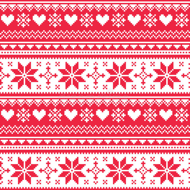 Download Nordic Seamless Knitted Christmas Red Heart Pattern Stock Illustration - Illustration: 43239677