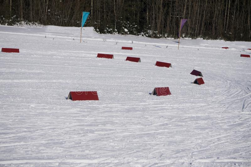 Nordic ski track for classic in beautiful winter areal - sport active photo with space for your montage stock photography