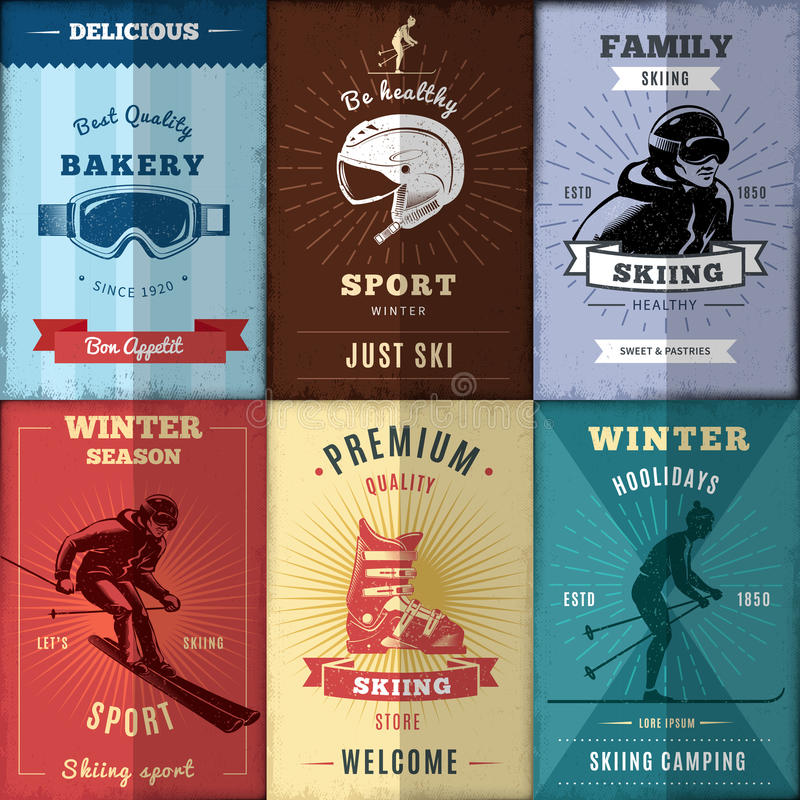 Nordic Skiing Posters Set. With active persons and sports equipment ribbons and rays isolated vector illustration vector illustration