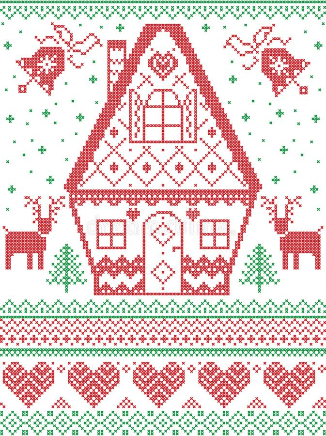 Nordic style and inspired by Scandinavian cross stitch craft Christmas pattern in red, white, green including heart, reindeer stock illustration