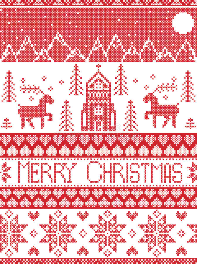 Nordic style and inspired by Scandinavian cross stitch craft merry Christmas pattern in red and white including winter wonderland vector illustration