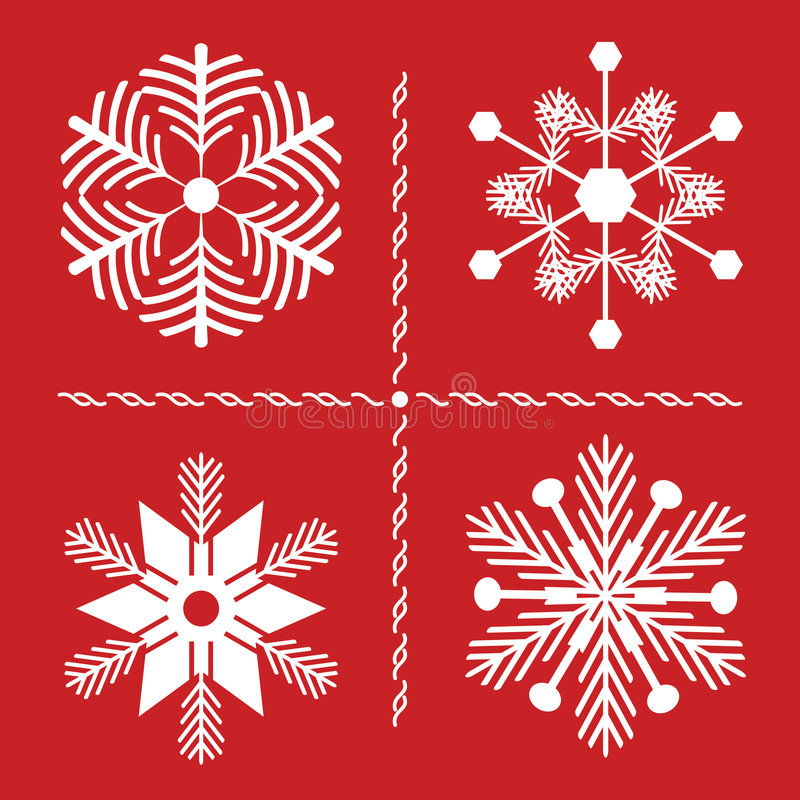 Nordic Style SNowflakes. Four Nordic style snowflakes with pine branch influence on red background. All are compound path for easy color change royalty free illustration