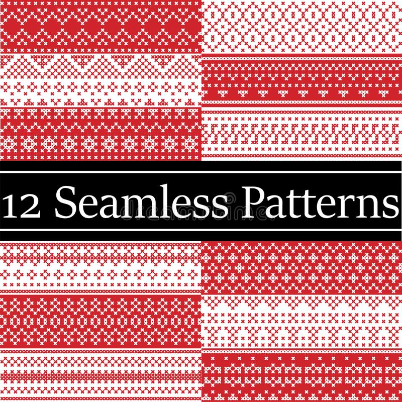 12 Nordic style vector patterns inspired by Scandinavian Christmas, festive winter seamless pattern in cross stitch with heart. Snowflake, Christmas tree, snow vector illustration