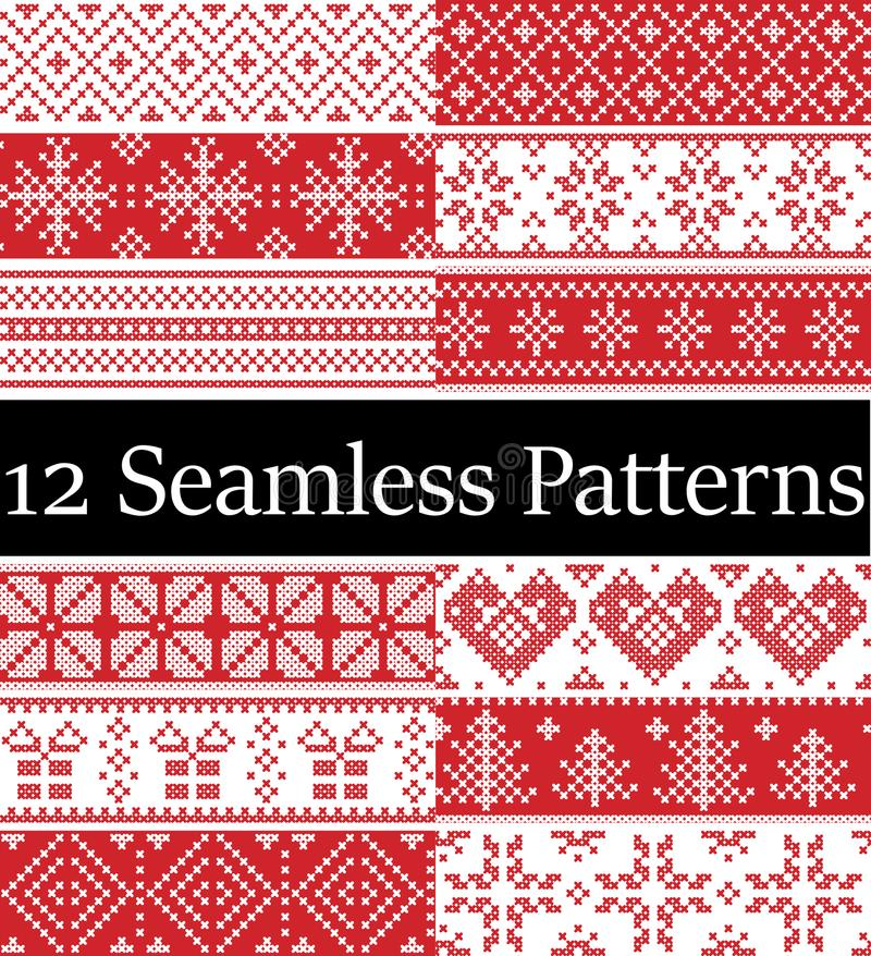 Nordic style vector samples inspired by Scandinavian Christmas, festive winter seamless pattern in cross stitch with heart, snow vector illustration