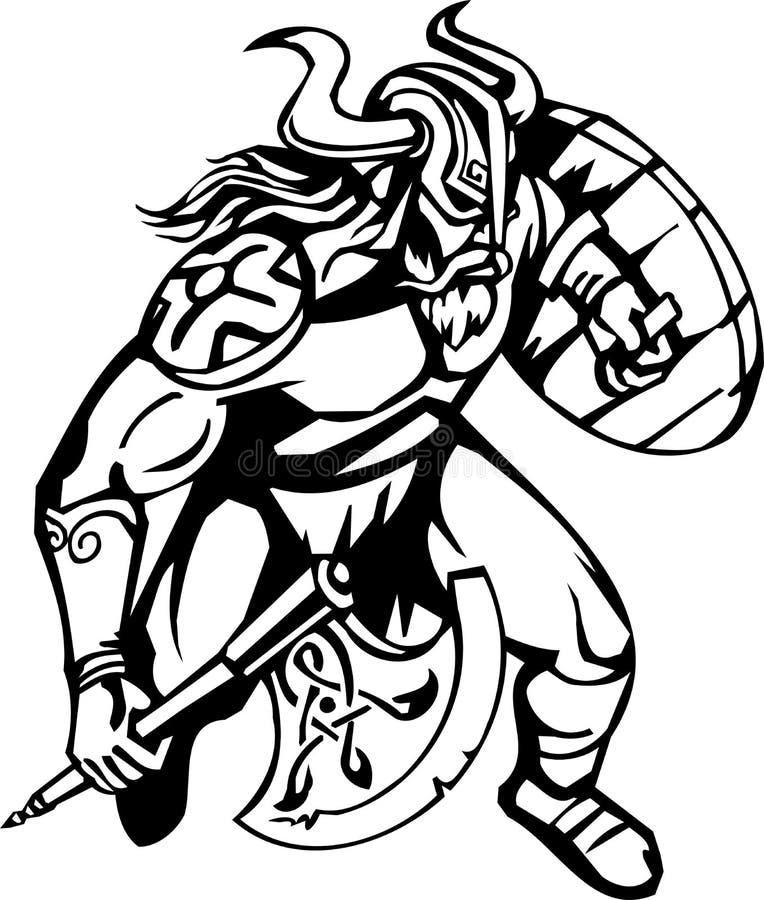 Nordic viking - vector illustration. Vinyl-ready. Nordic viking - black white vector illustration. Vinyl-ready vector illustration