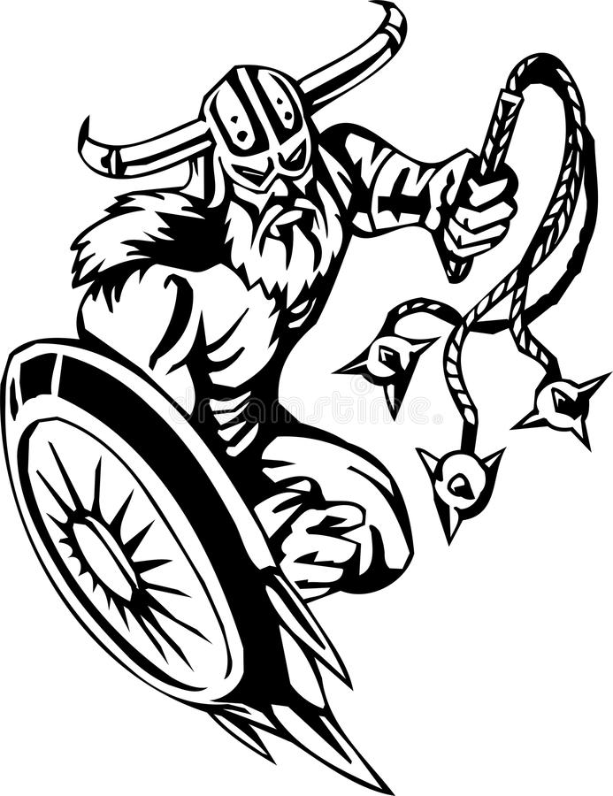 Nordic viking - vector illustration. Vinyl-ready. stock illustration