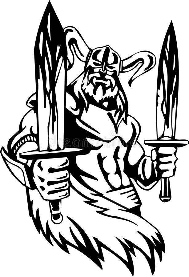 Nordic viking - vector illustration. Vinyl-ready. Nordic viking - black white vector illustration. Vinyl-ready royalty free illustration