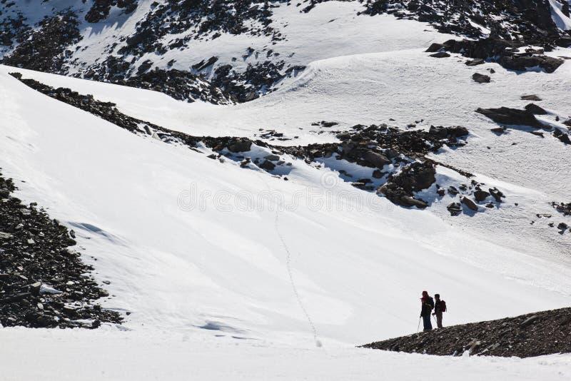 Nordic walkers at Molltaler Glacier, Austria stock photography
