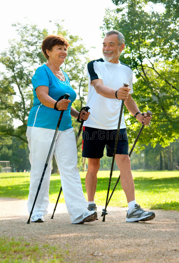 Free Nordic Walking Royalty Free Stock Photography - 21230497