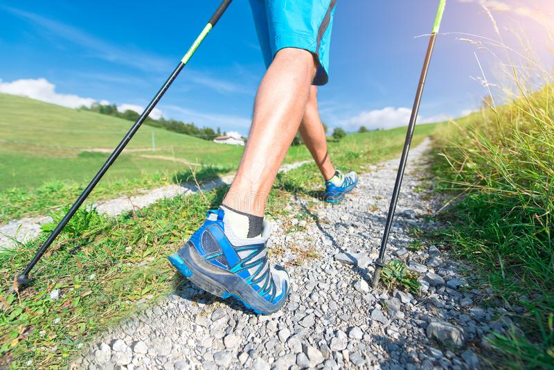 Nordic Walking on dirt road royalty free stock images