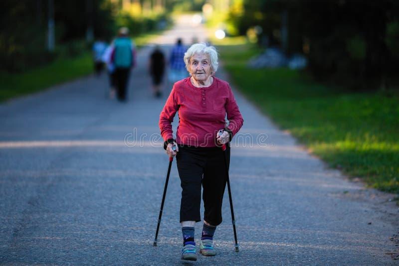 Nordic walking. An elderly woman with ski poles is on the road. Nature. Nordic walking. An elderly woman with ski poles is on the road stock images