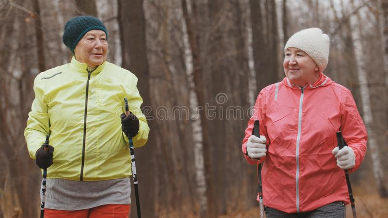 Nordic walking for elderly women outdoor - two happy senior ladies have training outdoor. Portrait royalty free stock images