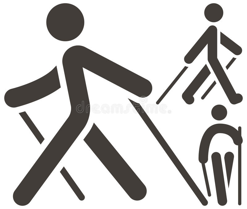 Nordic Walking icons. Health and Fitness - Nordic Walking icons set royalty free illustration