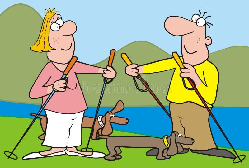 Download Nordic Walking-landscape,dog Stock Vector - Image: 31827635