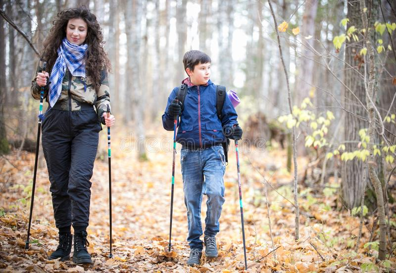 Nordic walking. Little boy and young woman. In the forest stock images