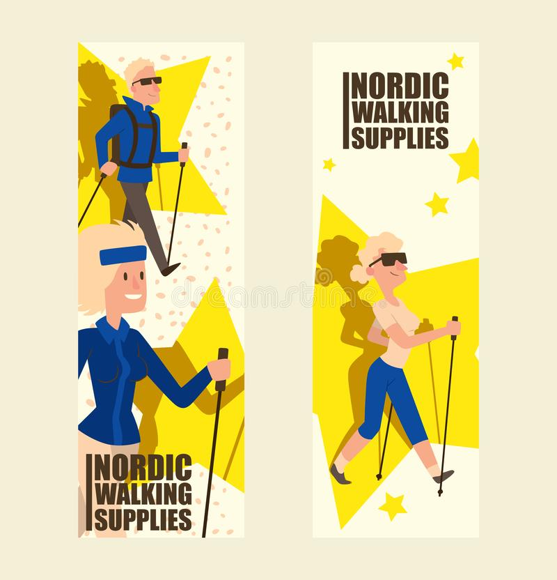 Nordic walking people landing page leisure sport time vector illustration. Active nordwalk sport man and woman exercise. Nordic walking people landing page vector illustration