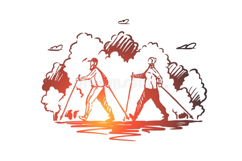 Nordic walking, sport, active lifestyle concept. Hand drawn sketch isolated illustration. Nordic walking, sport, active lifestyle vector concept. Man and woman stock illustration