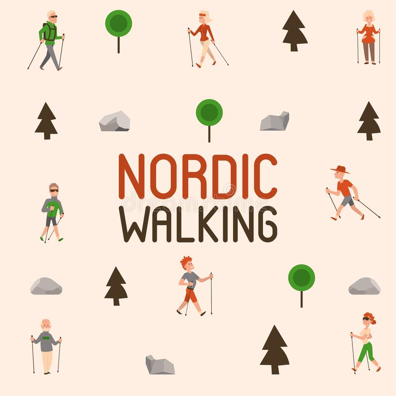 Nordic walking sport people leisure sport time vector illustration. Active nordwalk man and woman summer exercise. Outdoor fitness healthy active characters royalty free illustration