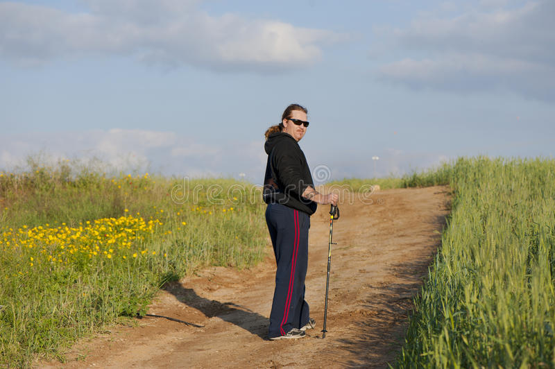 Nordic Walking. Sport and Recreation. Nordic walking. Healthy lifestyle for all the ages royalty free stock photography