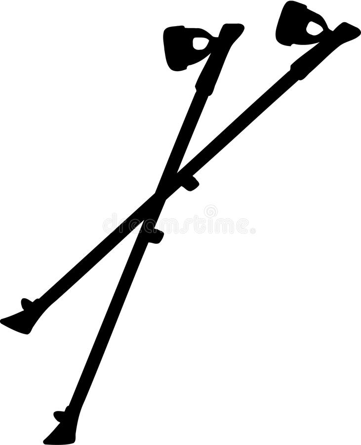 Nordic Walking sticks royalty free illustration