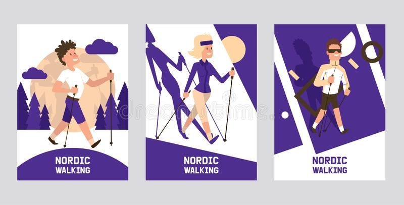 Nordic walking supplies people leisure sport time cards vector illustration. Active nordwalk man and woman summer. Exercise. Outdoor fitness active characters royalty free illustration
