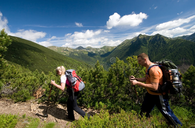 Nordic Walking in Tatra Mountains royalty free stock images