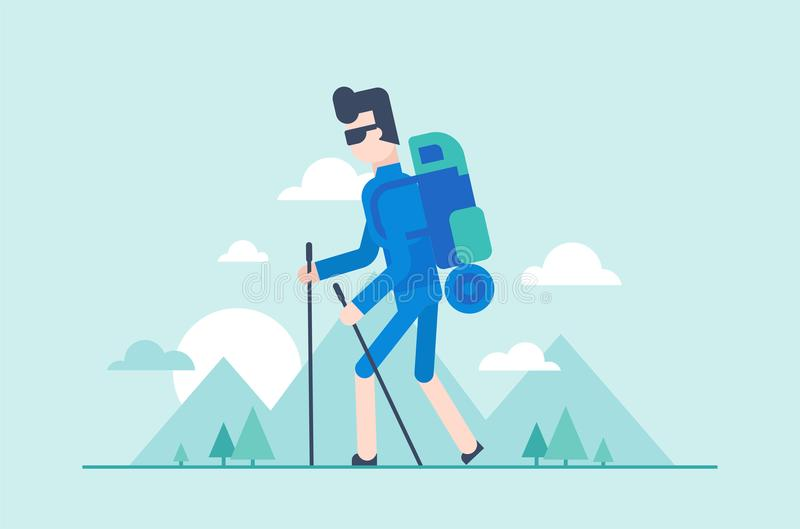 Nordic walking tour - modern flat design style illustration. Young tourist with poles, backpack with a sleeping pad hiking. Silhouettes of mountains, hills on vector illustration