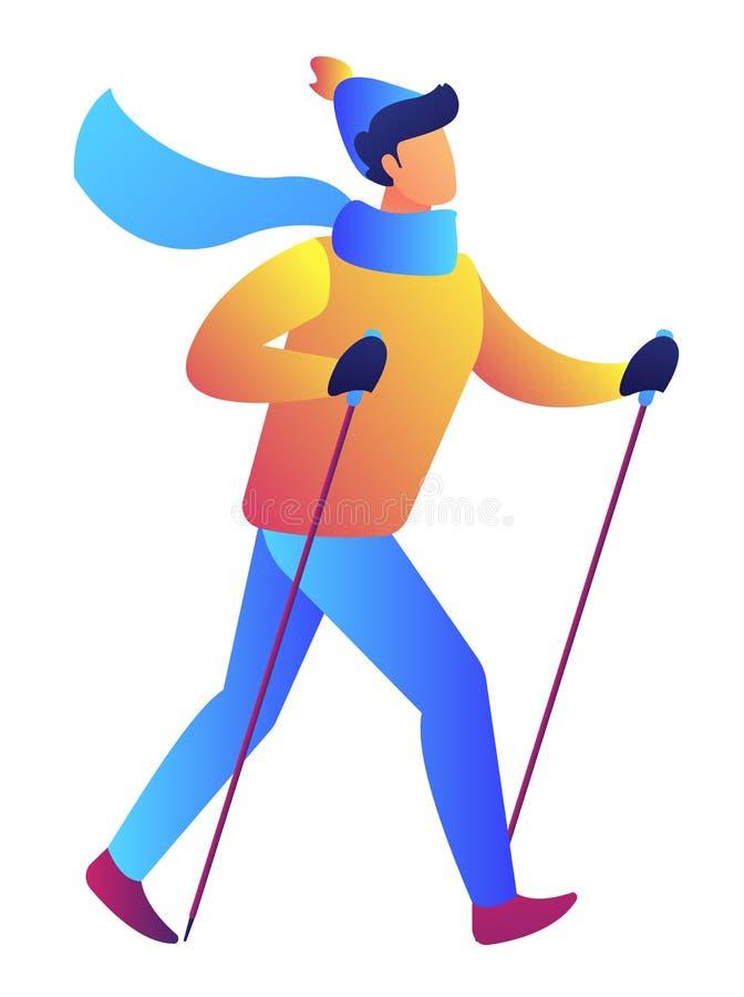 Nordic walking vector illustration. stock illustration