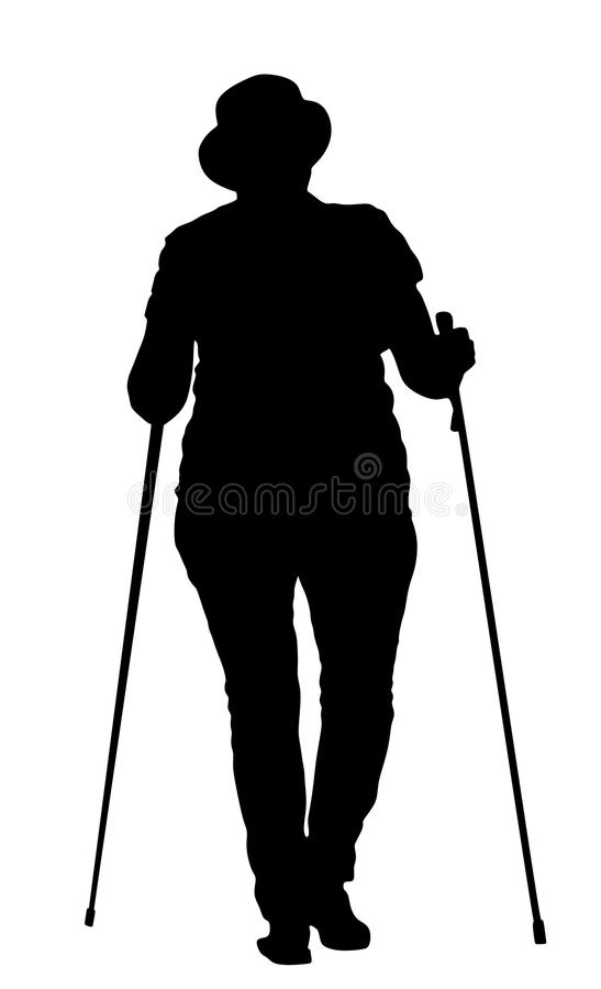 Nordic walking vector silhouette, woman walking. vector illustration