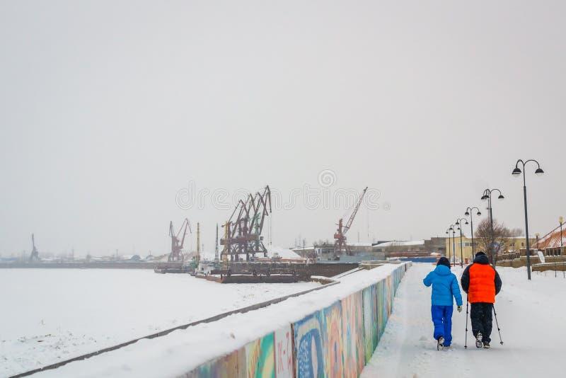 Nordic walking in winter royalty free stock photo