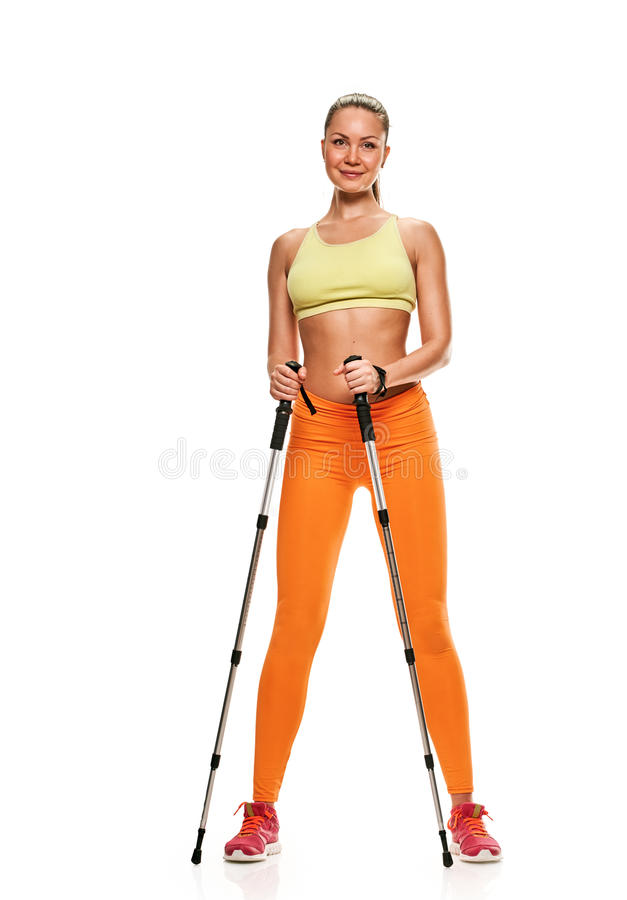 Nordic walking woman. Nordic walking - active people. woman in studio on white background stock images