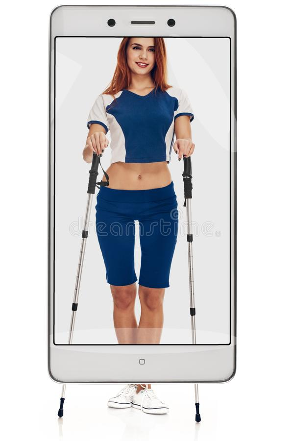 Nordic walking woman. Nordic walking - active people. woman in studio on white background. conceptual collage with device stock images