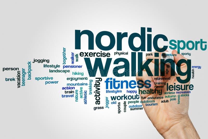Nordic walking word cloud stock image