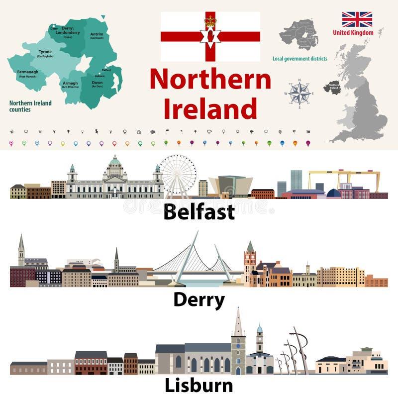 Nordirland-Grafschaften zeichnen und Skyline der größten Städte auf Karikatur polar mit Herzen lizenzfreie abbildung