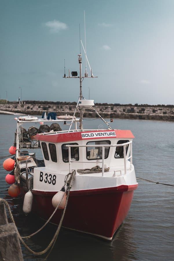 NORDIRLAND, GROSSBRITANNIEN - 8. APRIL 2019: Ein helles rotes genanntes Fischerboot Bold Venture wird an einem Hafen in Irland fe lizenzfreie stockfotografie