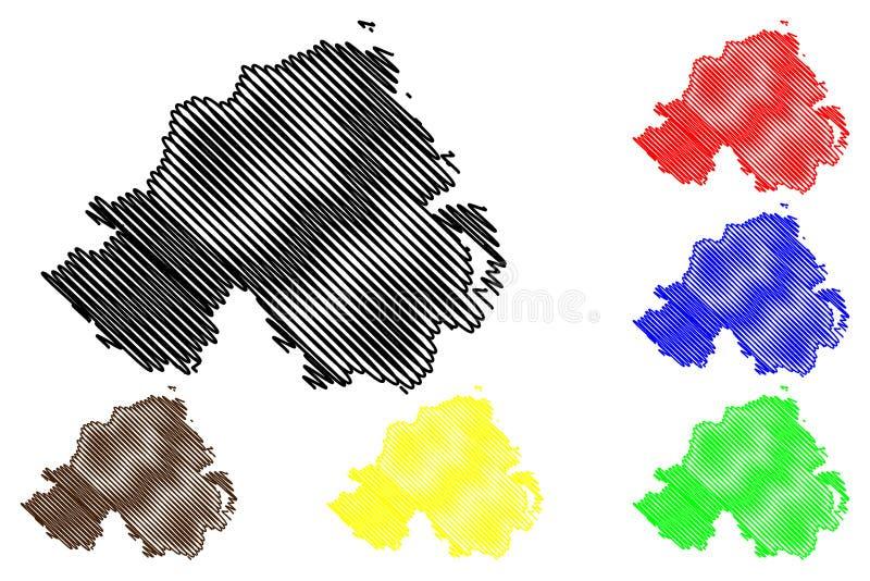 Nordirland-Kartenvektor vektor abbildung