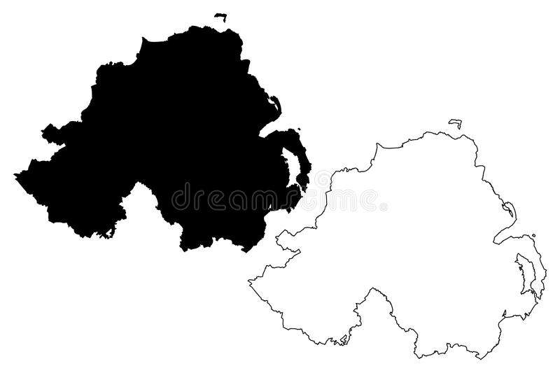 Nordirland-Kartenvektor lizenzfreie abbildung