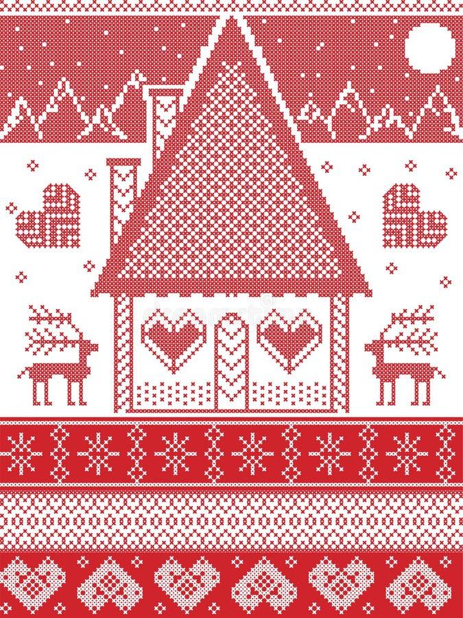 Nordische Art, angespornt durch skandinavische Weihnachtsmusterillustration im Kreuzstich, Lebkuchenhaus, Ren lizenzfreie abbildung