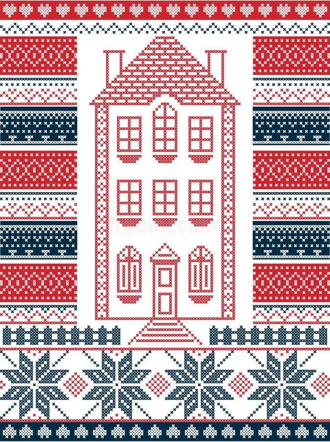 Nordische Art und angespornt durch skandinavische Weihnachtsmusterillustration im Kreuzstich mit Lebkuchenhaus stock abbildung