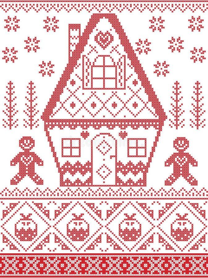 Nordische Art und angespornt durch skandinavisches Kreuzstichhandwerk Weihnachtsmuster im Rot, weiß einschließlich Herz, Lebkuche lizenzfreie abbildung