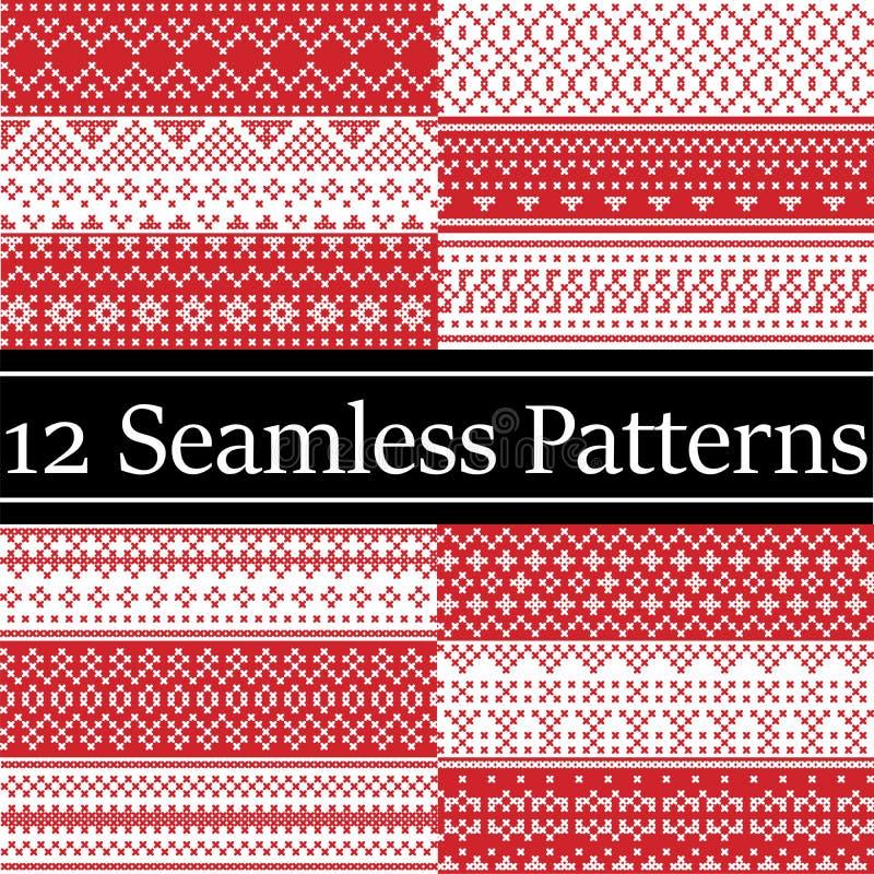 12 nordische Artvektormuster spornten durch skandinavisches Weihnachten, nahtloses Muster des festlichen Winters im Kreuzstich mi vektor abbildung
