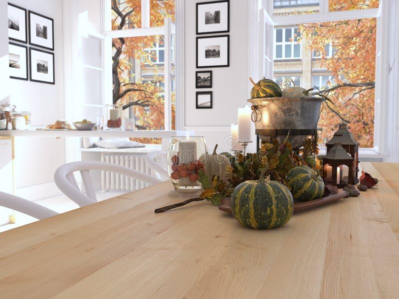 Nordische Küche in einer Wohnung Wiedergabe 3d Blätter u stockbilder