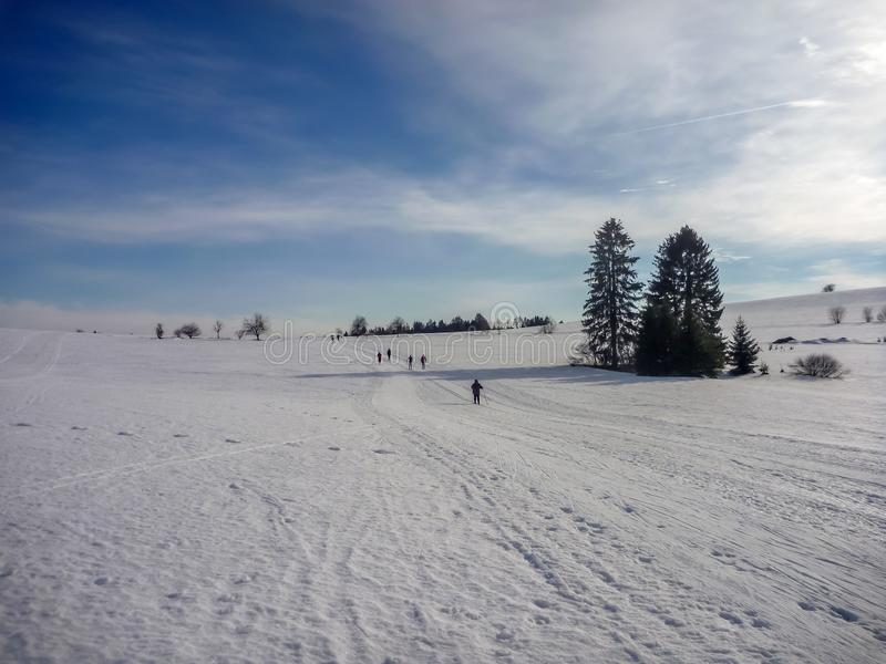 Nordische Ski fahrende Spuren nahe Nove Mesto Na Morave stockfotos