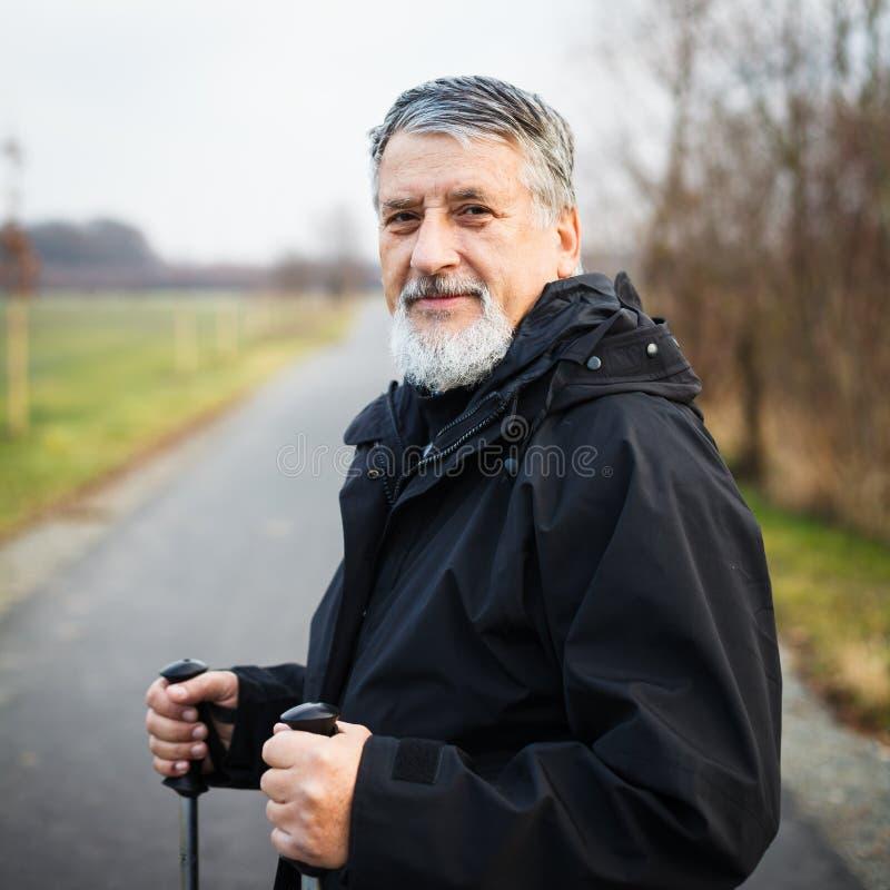 Nordisches Gehen des älteren Mannes lizenzfreie stockfotos
