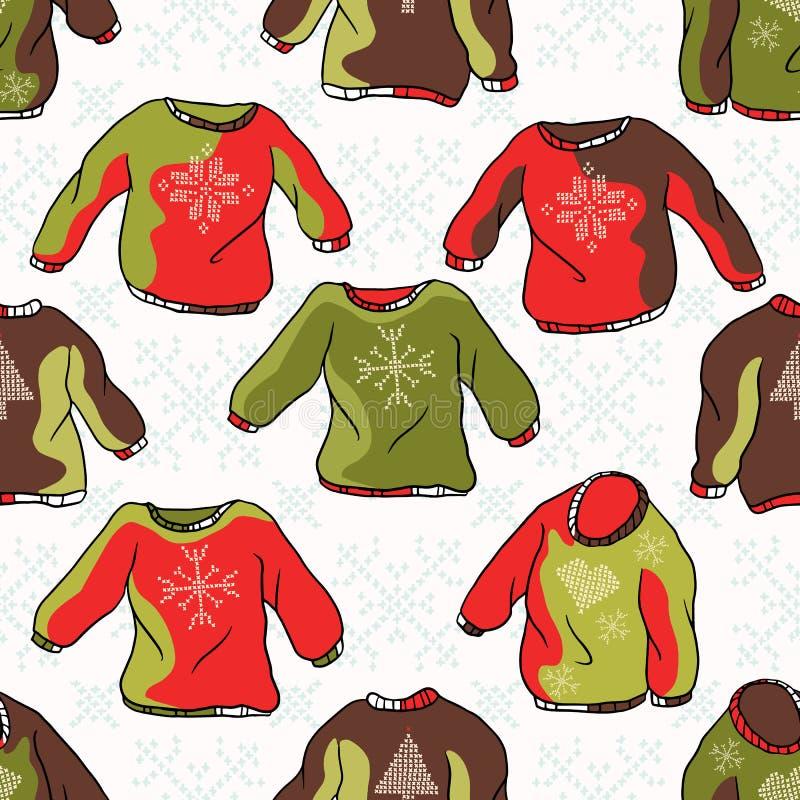 Nordisk jul Jumper Seamless Vector Pattern Hand dragen broderad ful tröja royaltyfri illustrationer